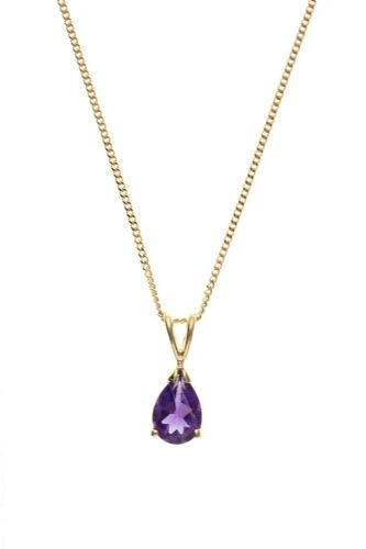 Yellow Gold Pear Shaped Amethyst Necklace Pendant ATRENR